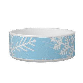 Modelo del copo de nieve del navidad tazon para gato
