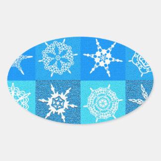 Modelo del copo de nieve calcomanías de ovales