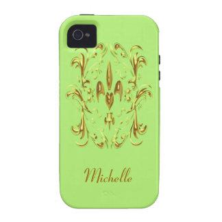 Modelo del corazón de la flor de lis del oro (cal) vibe iPhone 4 carcasa