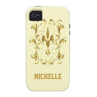 Modelo del corazón de la flor de lis del oro Case-Mate iPhone 4 fundas
