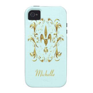 Modelo del corazón de la flor de lis del oro vibe iPhone 4 carcasas