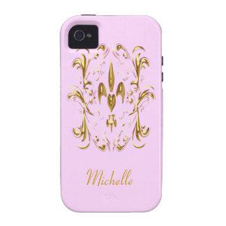Modelo del corazón de la flor de lis del oro vibe iPhone 4 funda