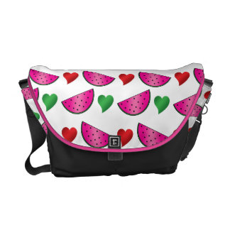 Modelo del corazón de la sandía bolsas messenger