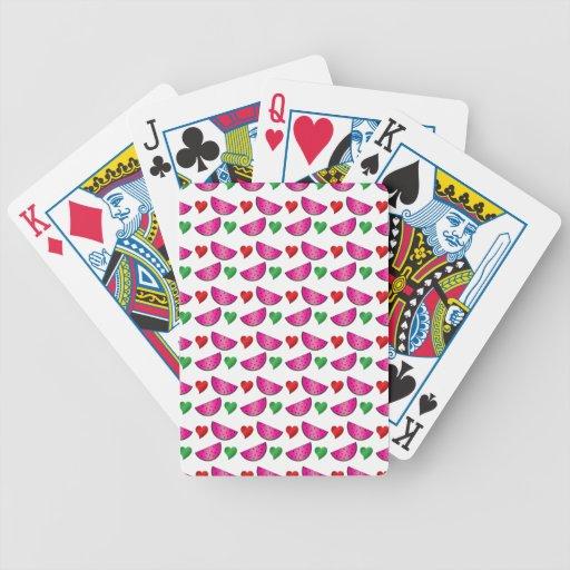 Modelo del corazón de la sandía cartas de juego