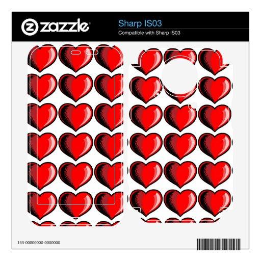 Modelo del corazón de la tarjeta del día de San Va Skin Para El Sharp IS03