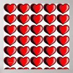 Modelo del corazón de la tarjeta del día de San Va Posters