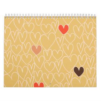 Modelo del corazón del garabato del amarillo de la calendarios