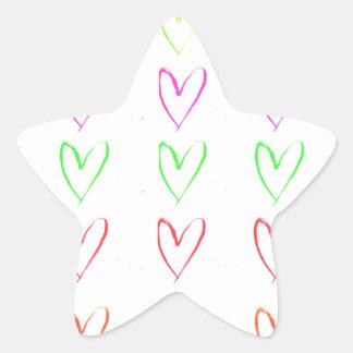 Modelo del corazón del watercolour del arco iris pegatina en forma de estrella