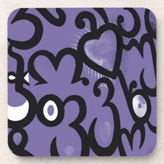 Modelo del corazón y de los remolinos en púrpura,  posavasos de bebida