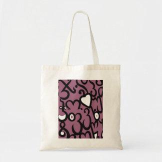 Modelo del corazón y de los remolinos en rosado os bolsas de mano