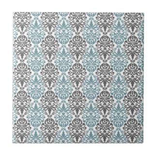 Modelo del cordón del damasco del vintage del gris azulejo cuadrado pequeño