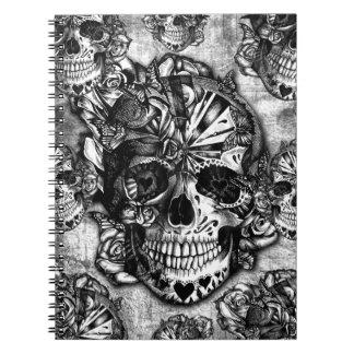 Modelo del cráneo del azúcar del Grunge Libro De Apuntes