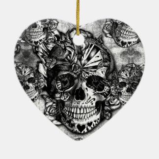 Modelo del cráneo del azúcar del Grunge Ornamento Para Arbol De Navidad