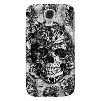 Modelo del cráneo del azúcar del Grunge Funda Para Galaxy S4
