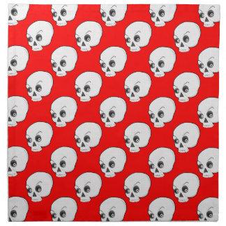 Modelo del cráneo en fondo rojo servilletas de papel