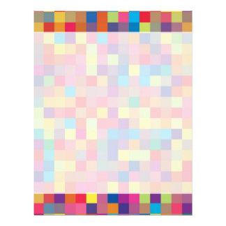 Modelo del cuadrado del arco iris del pixel membrete a diseño