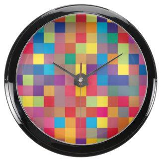 Modelo del cuadrado del arco iris del pixel relojes pecera