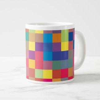 Modelo del cuadrado del arco iris del pixel taza grande