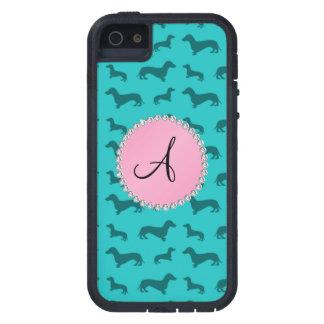 Modelo del dachshund de la turquesa del monograma iPhone 5 Case-Mate carcasas