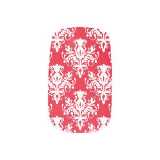 Modelo del damasco 02 - blanco en e6001c rojo pegatina para uñas