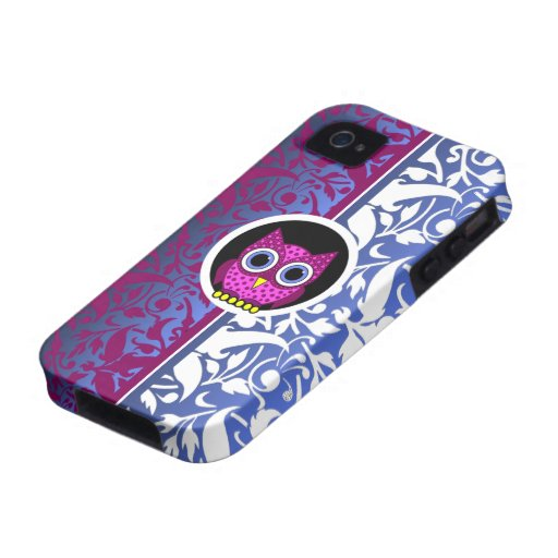 modelo del damasco con el búho Case-Mate iPhone 4 fundas