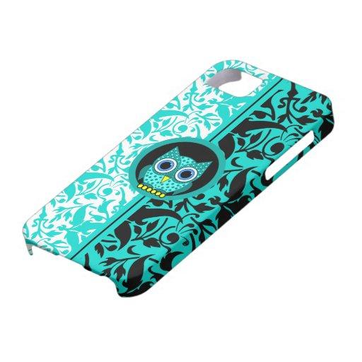 modelo del damasco con el búho iPhone 5 Case-Mate carcasa