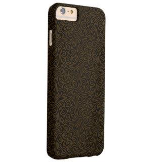 Modelo del damasco de Brown oscuro Funda De iPhone 6 Plus Barely There