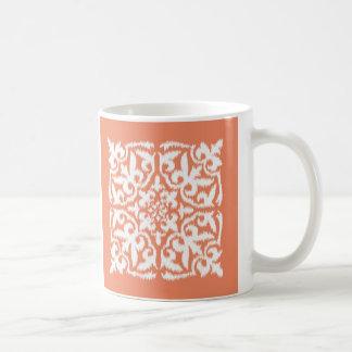 Modelo del damasco de Ikat - naranja coralino y bl