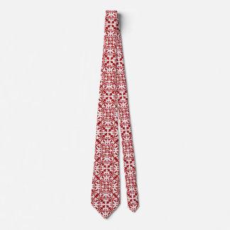 Modelo del damasco de Ikat - rojo oscuro y blanco Corbatas
