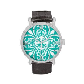 Modelo del damasco de Ikat - turquesa y blanco Reloj De Mano