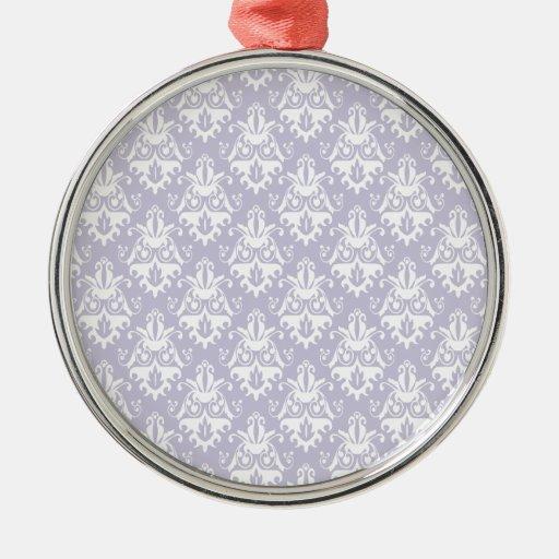 Modelo del damasco de la lavanda adorno navideño redondo de metal