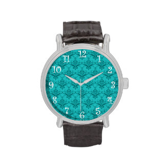 Modelo del damasco de la turquesa reloj