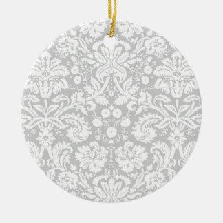 Modelo del damasco de los gris plateados adorno redondo de cerámica