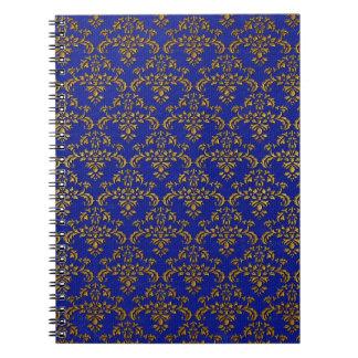 Modelo del damasco del azul y del oro libreta espiral
