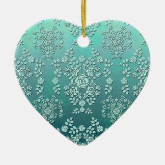 Modelo del damasco del estilo del vintage de los adorno de cerámica en forma de corazón