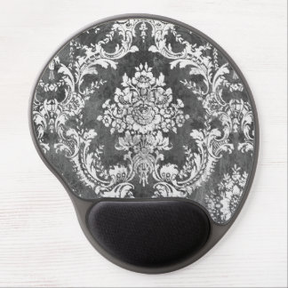 Modelo del damasco del Grunge del carbón de leña Alfombrillas De Ratón Con Gel