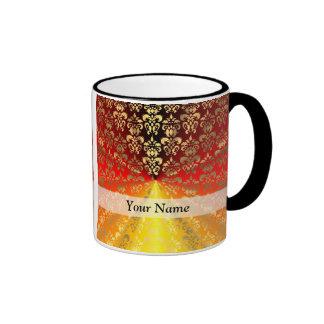 Modelo del damasco del naranja y del oro taza de dos colores