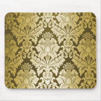 Modelo del damasco del oro tapete de raton