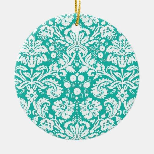 Modelo del damasco del trullo de la turquesa de la adorno navideño redondo de cerámica