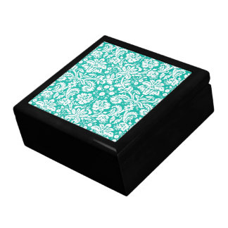 Modelo del damasco del trullo de la turquesa de la caja de recuerdo