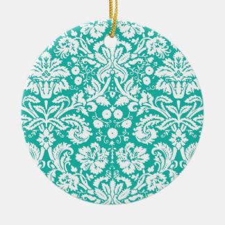 Modelo del damasco del trullo de la turquesa de la adorno redondo de cerámica
