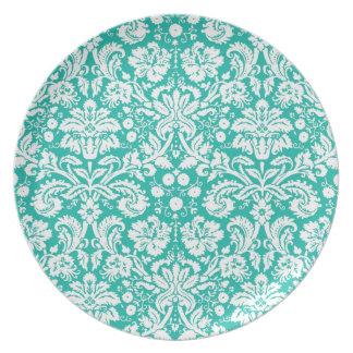 Modelo del damasco del trullo de la turquesa de la plato de cena