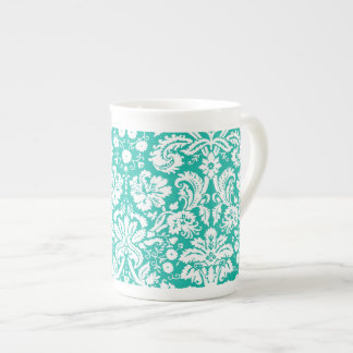 Modelo del damasco del trullo de la turquesa de la taza de porcelana