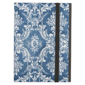 Modelo del damasco del vintage - blanco azul del