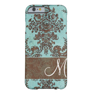 Modelo del damasco del vintage con el monograma funda para iPhone 6 barely there