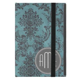 Modelo del damasco del vintage con el monograma iPad mini fundas