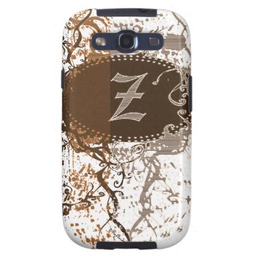 Modelo del damasco del vintage con la letra Z del Samsung Galaxy SIII Funda