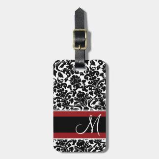 Modelo del damasco del vintage con negro rojo del etiquetas para maletas