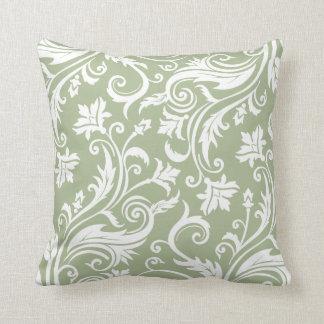 Modelo del damasco del vintage de la verde salvia cojín decorativo