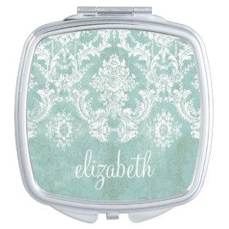 Modelo del damasco del vintage de los azules claro espejo de maquillaje